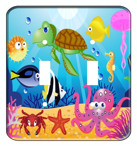 Fish Switchplate Cover - Ocean Wonders Sea Life Double Toggle Light Switchplate Cover