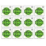 12 pack 10 HOUR Osha Trained - size: 2'' ROUND color: LIME GREEN/BLACK by StickerDad- Full Color Printed Sticker for Hard Hat, Helmet, Windows, Walls, Bumpers, Laptop, Lockers, etc.