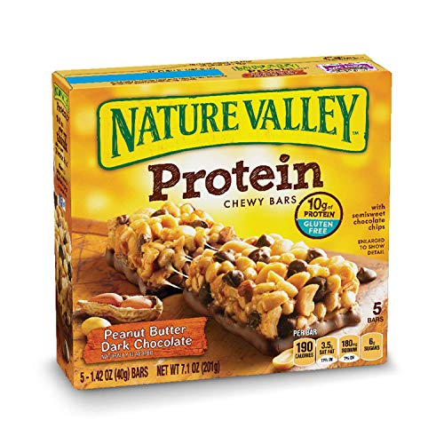 Giant Chocolate Peanut - Nature Valley Chewy Granola Bar, Protein, Peanut Butter Dark Chocolate, 5 Bars-1.42 Ounce each, 7.1 Ounce (Pack of 6)