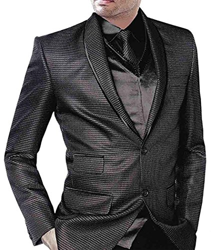 INMONARCH Mens Black Tuxedo Suit Wedding Designer 5 Pc TX112XL54 54 X-Long Black