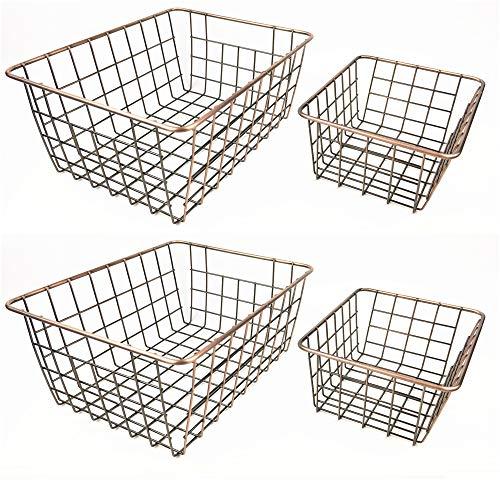 SINARDO Wire Storage Basket Organizer Bin Baskets for Kithen Cabinets Freezer Bedroom Bathroom (4, Bronze) ()