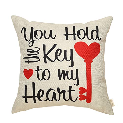 Valentine Key (Fahrendom Rustic Farmhouse Valentine's Day Sign You Hold The Key to My Heart Lover Gift Cotton Linen Home Decorative Throw Pillow Case Cushion Cover with Words for Sofa Couch 18 x 18 in)