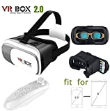 Captcha VR Box 2nd Generation Enhanced Version Virtual Augmented Reality Cardboard 3D Video Glasses Headset with Bluetooth Remote Control For iPhone 6S 6 Plus SE 5S 5 Samsung Galaxy S7 Edge Plus S6 S5 S4 Note 5/4/3/2- 4.7'-6.0' Cellphone Mobile Phones - White Suitable with all Android or Iphone Devices (1 Year Warranty, Color May Vary)