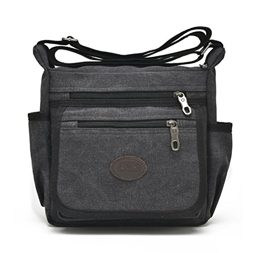 (Qflmy Vintage Canvas Messenger Bag Handbag Crossbody Shoulder Bag Leisure Change Packet (black))