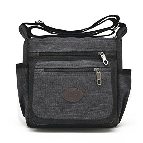 Qflmy Vintage Canvas Messenger Bag Handbag Crossbody Shoulder Bag Leisure Change Packet ()