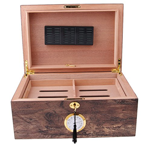 Baoblaze Cigar Humidor Box Humidifier Store Box Cedarwood Cigar Case Glass Desktop - Antique with No Window ()