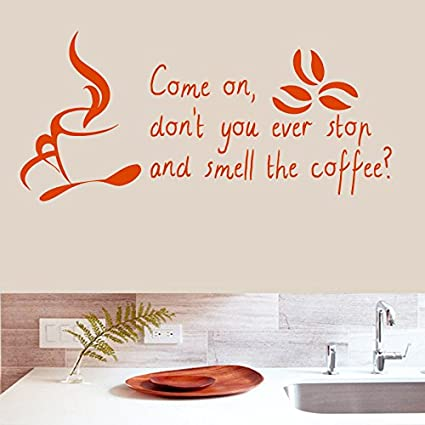Wall Decals Quotes Smell Coffee Bean Cup Mug Quote Kitchen Living