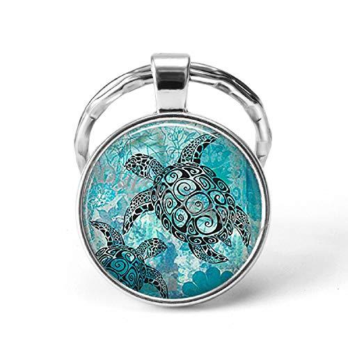 Sea Turtles Starfish Glass Cabochon Key Chains Dolphin Dandelion Thistles Key C (Best Tool To Pull Dandelions)