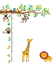Deco Wall Animals Height Chart Kids Wall Stickers Wall Decals Peel and Stick Removable Wall Stickers for Kids Nursery Bedroom Living Room décor