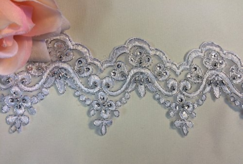 2 Yard, Bridal Lace Trim on Organza, Pearls and Clear Sequins, for Veil, Wedding Dresses, Garments, (White w/ Silver Cording and Sequins), 5