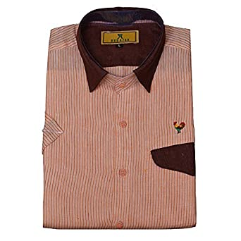 cf3e6f2e97ee Pale Pink Color Pure Linen Designer Shirt (Large-40) - Rooster Den  Amazon. in  Clothing   Accessories