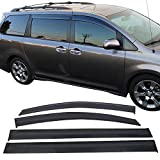 2011-2018 Sienna Window Visor Dark Smoke Ventvisor Window Deflector Tape-On Rain Guard 4 PCS 2011 2012 2013 2014 2015 2016 2017 2018 Sienna
