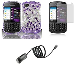 Cerhinu BlackBerry Q10 - Premium Accessory Kit - Purple and Silver Diamond Bling Case + ATOM LED Keychain Light + Screen...