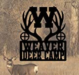 Hunting Camp - Personalized Metal Sign 23 Wide x 27.25 Tall - Deer Camp -Buck Whitetail Antlers - Metal Art - Handmade USA Hunters Sign Gift