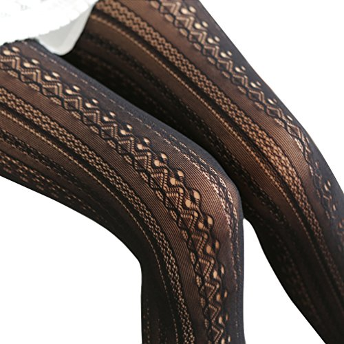 EachEver Women Fishnet Hollow Out Chiffon Lace Stockings Tights Vertical Strips Pantyhose Black