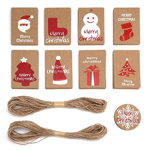 Tifanso 90PCS Kraft Paper Tags Christmas Gift Tag - 9 Designs for DIY Xmas Holiday Present Wrap - Label Package Name Card with Free 65.6 Feet Natural Jute Twine (90PCS Christmas Kraft Paper)