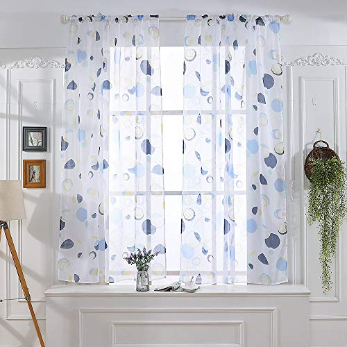 Voile Circle - Window Sheer Curtain Panel Tulle Window Treatment Circle Pattern Voile Drape Valances for Bedroom Living Room - 51.2X39.4