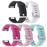 Fitbit Charge 2 Band , UMAXGET Soft Silicone Replacement Band Wristband Sports Strap with Silver Buckle Pack 5 for Men Women
