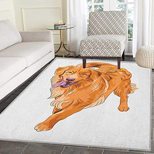 Golden Retriever Print Area Rug Playful Dog Running with a Smiling Face Best Friend and Companion Indoor/Outdoor Area Rug 3'x4' Orange Violet White 4' Golden Retriever Face