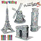 3D Coloring Puzzle Set: Best Architecture Kit for Adult, Art Coloring Painting 3D Puzzle for Kids 10+. Fun Creative DIY Toys for Family Craft and Best Model Builder STEM Art Craft for High IQ Kids