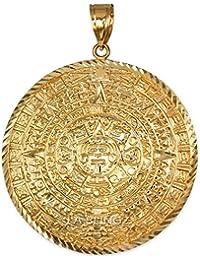 10K Yellow Gold Aztec Mayan Sun Calendar Ex-Extra Large Pendant (XXL)