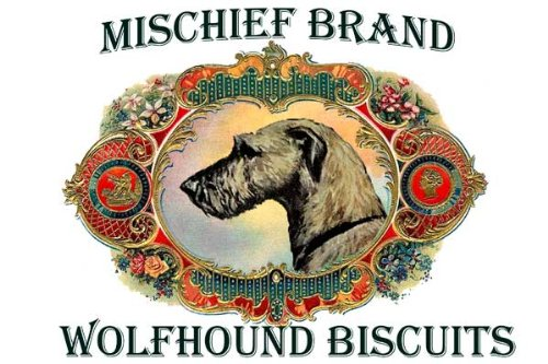 Irish Wolfhound Mischief Brand Collectible Biscuit Tin with - Collectable Tin Biscuits