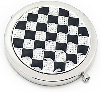 ハンドヘルド化粧品折りたたみダイヤモンドクリエイティブメイクアップミラーポータブルラウンド両面ドレッシングミラー、7センチメートル* 7センチメートル JZ02/28 (Color : Black)