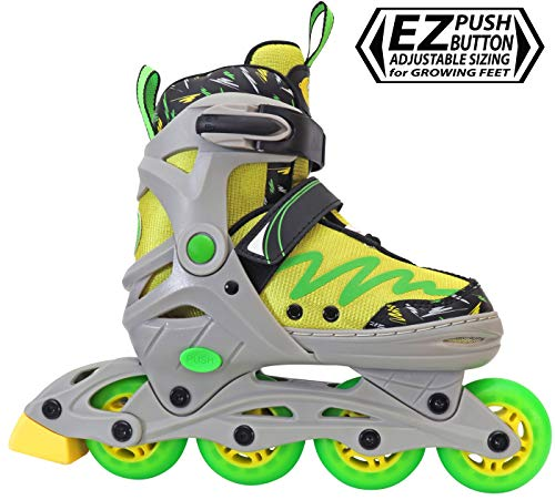 Lenexa Inline Skates for Girls and Boys with Adjustable Sizing Lemon Twist Kids in-line Roller Skate Blades | Comfortable fit | Safety Non-Slip Wheels | Made for Fun (Green/Yellow) (Small (J11-1))