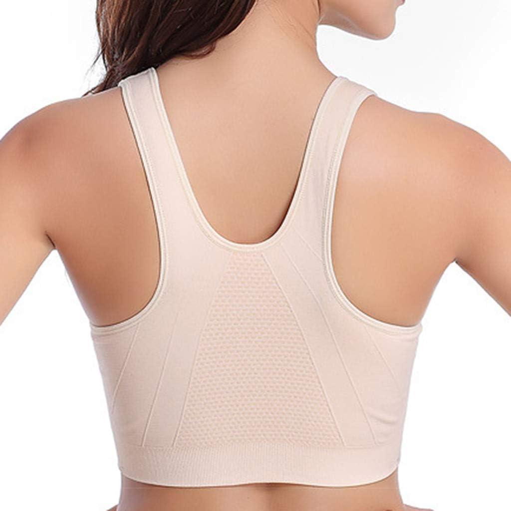 iCJJL Womens Racerback Sports Bras Padded Zipper Seamless High Impact Full Support Workout Bra