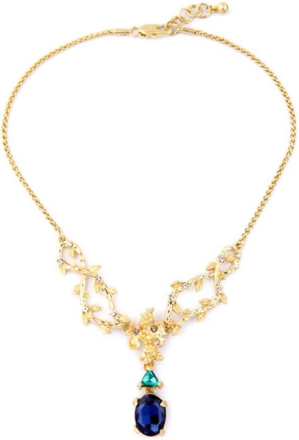 SLVVL Collar de señoras con Colgante de Rama de Piedras Preciosas Vintage