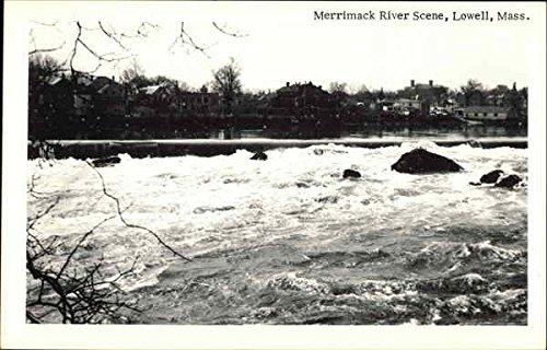 Merrimack River Scene Lowell, Massachusetts Original Vintage Postcard