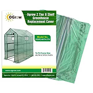 oGrow 49.2 x 74 x 74.8-Inch 2-Tier 8-Shelf Greenhouse Replacement Cover by OGrow
