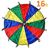 GSI Kids Play Parachute Rainbow Parachute Toy Tent Game for Children Gymnastic Cooperative Play and Outdoor Playground Activities (16 Feet 16 Handles)