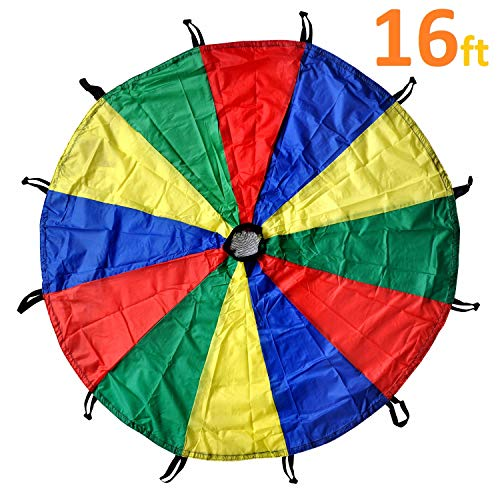 GSI Kids Play Parachute Rainbow Parachute Toy Tent Game for Children Gymnastic Cooperative Play and Outdoor Playground Activities (16 Feet)]()