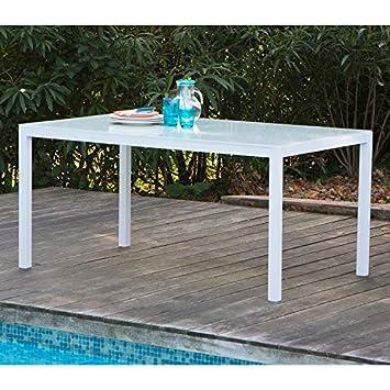 Delamaison Table de Jardin Aluminium/Verre 150x90x72cm ...