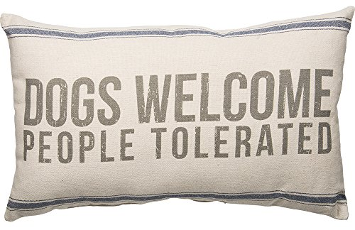 (Primitives by Kathy Vintage Flour Sack Style Dogs Welcome Throw Pillow, 25 x 15-Inch)