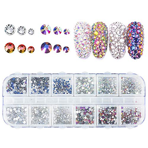 Chosky Nail Crystals AB Nail Art Rhinestones Spangle Round Beads Flatback Glass Charms Gems Stones for Nails Decoration Crafts Nail Art Phone Crafts DIY