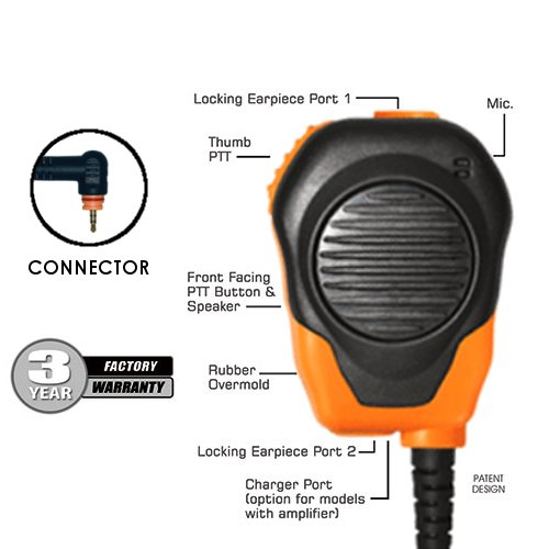 Maxon Two Way - Klein Valor Orange Shoulder Mic for Motorola Wave TLK 100 SL300 SL500 SL3500 SL7550 SL7550e SL7580 SL7580e SL7590 SL7590e and Maxon TPD-8124 TPD-8424 Two-Way Radios Walkie Talkies Handheld Portable