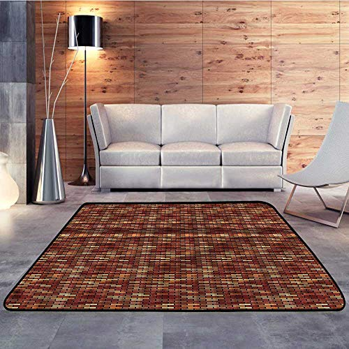 Kitchen Floor mats,Grunge,Brick Wall Earthy ColorsW 78.7