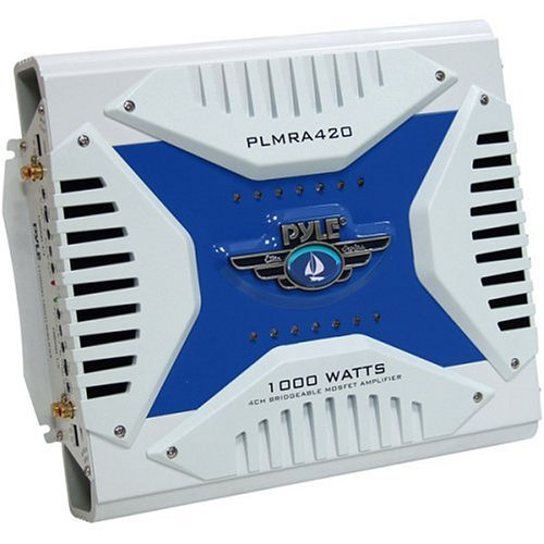Pyle Hydra Marine Amplifier - Upgraded Elite Series 1000 Watt 4 Channel Bridgeable Amp Tri-Mode Configurable, Waterproof,  MOSFET Power Supply, GAIN Level Controls and RCA Stereo (Imperial Double Cross)