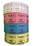 Raffle Tickets - (4 Rolls of 2000 Double Tickets) 8,000 Total 50/50 Raffle Tickets (Tangerine/Pink/Blue/Yellow)