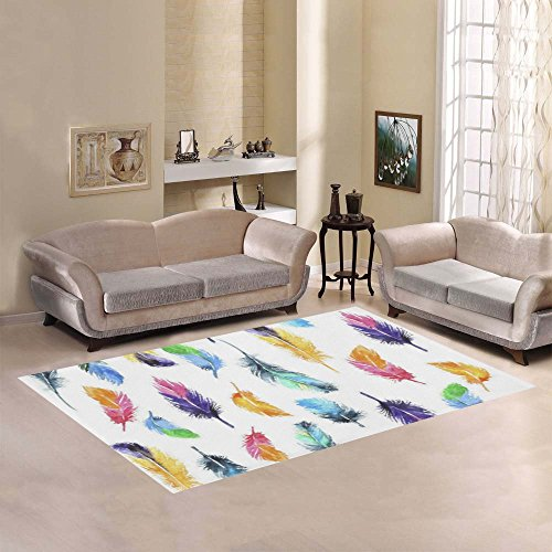 Love Nature Sweet Home Modern Collection Custom Peacock feathers rainbow color Area Rug 7'x5' Indoor Soft (Rainbow Peacock Feather)