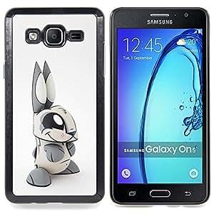 For Samsung Galaxy On5 O5 Case , Juguete blanco conejo orejas largas Gris - Diseño Patrón Teléfono Caso Cubierta Case Bumper Duro Protección Case Cover Funda