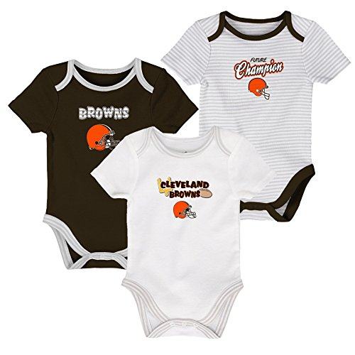 NFL Newborn Third Down 3 Piece Onesie Set, Cleveland Browns, White/Brown Suede, 3 (Cleveland Browns Football Baby Onesie)