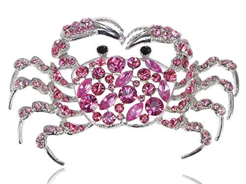 Alilang Dangerous Sinewy Rose Crystal Rhinestone Large Crab Fashion Jewelry Pin Brooch ()