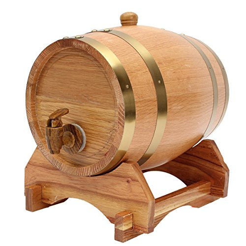 5L Wooden Barrel with Spigot for Whisky Wine Liquor Homebrew by Ologymart