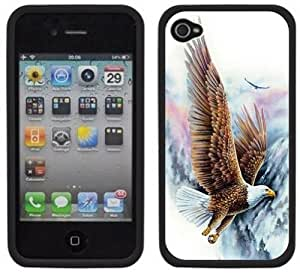Bald Eagle Soaring Handmade iPhone 4 4S Black Hard Plastic Case