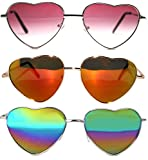 3 Pack Heart Shaped Gold Metal Frame Aviator Mirrored Lens Sunglasses Blue-Green Red Multicolor