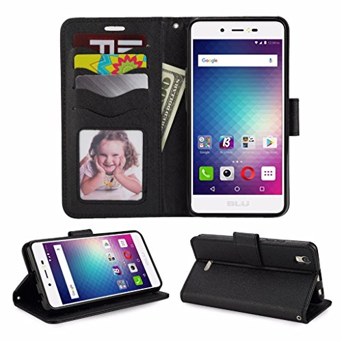 Blu Studio G Max S570Q Cellphone Wallet Case with Stand Flip Case Hand Band Credit Card Slots (Wallet Black)