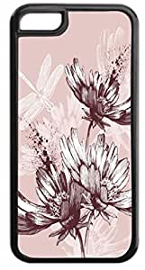 Flowers and Dragonflies Hard Plastic Case in black with Inner Black Rubber Lining - for the Apple Iphone 4, 4s Universal